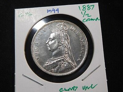 M44 Great Britain 1887 1/2 Crown UNC Cleaned