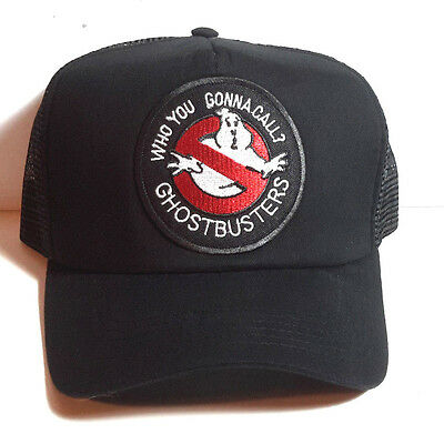 """Ghostbusters """"Who You Gonna Call"""" BLACK Trucker style Baseball Cap/Hat- FREE S&H"""