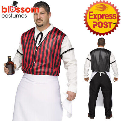 CA535 Saloon Keeper Wild West Western Bar Bartender Plus Size Men Costume Outfit