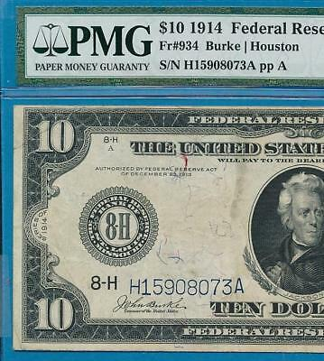 $10. 1914 Fr.934 St. Louis District  Federal Reserve Note, Pmg  Certified Vf30