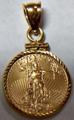 14k YELLOW GOLD DIAMOND CUT SCREW TOP BEZEL PENDANT for $5 Gold American Eagle