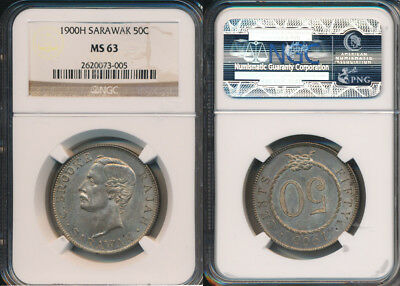Sarawak 1900 H 50 Cents KM.11  NGC MS63 Finest graded by either service  RR