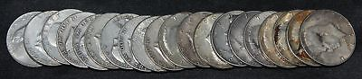 Roll of 20 Mixed Type Silver Half Dollars Franklin/Kennedy Circulated 90% Silver