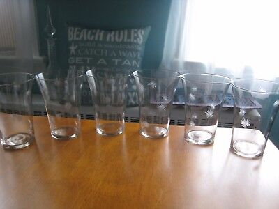 Vintage 1950s Atomic Etched Stardust Tumblers Set of 6