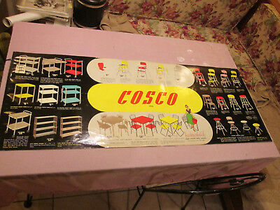 Vintage 2-Sided Cosco 1958 Advertising Paper Display Poster 47x18 1/2