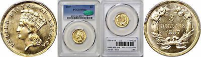 1887 $3 Gold Coin PCGS MS-64 CAC