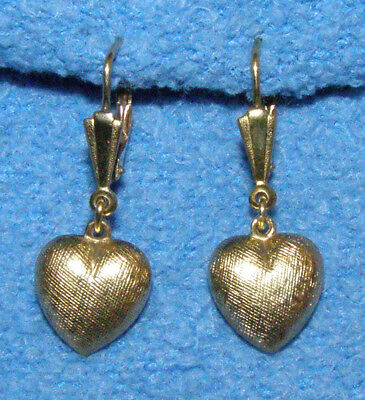 Vintage Estate 14k Yellow Rolled Gold Textured Heart Leverback Dangle Earrings