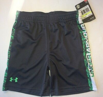 Under Armour Heat Gear Boys 4T Gray Athletic Shorts Green Pixel Print Side Panel