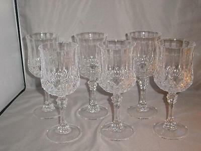 """6 Cristal d'Arques Longchamp Lead Crystal 11 Ounce Water Goblets 7 1/8"""" Tall"""