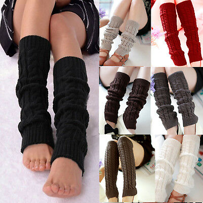 Women High Knee Stocking Leg Warmers Cable Knit Knitted Crochet Socks Leggings