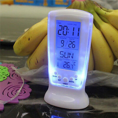 LED Digital Display Backlight Table Clock Alarm Snooze Thermometer Calendar Hot