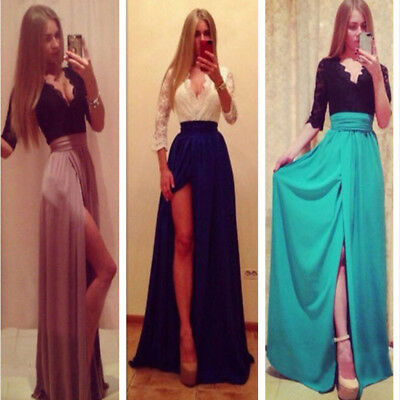 Womens Sexy Lace V Neck Formal Evening Party Cocktail Bridesmaid Prom Long Dress