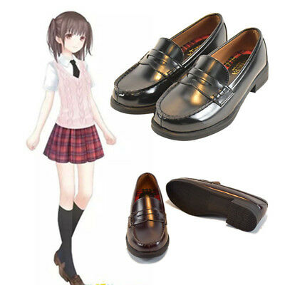 Japanese School Uniform Low Flat Heel Students Shoes PU Lolita Cosplay Schuhe