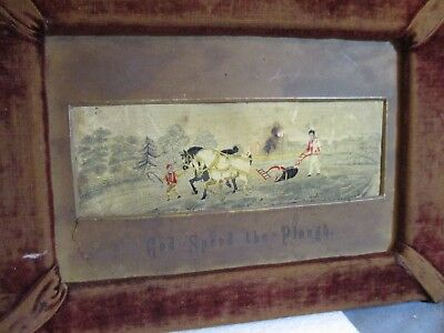 Antique Woven Silk Picture Stevengraph God Speed The Plough Brown Velvet Frame