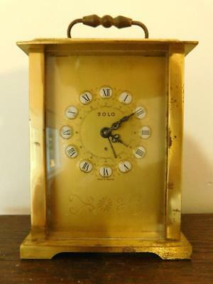 Heavy Vintage French SOLO 8 Day Carriage Alarm Mantle Clock Gilt Bronze Case