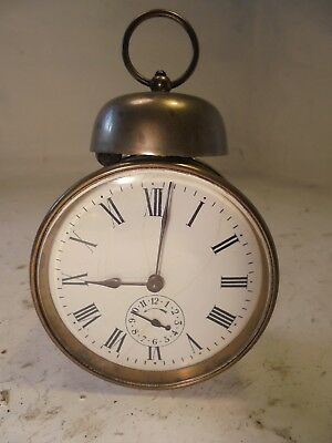 Antique Brass cased Drum Alarm  Clock  ,