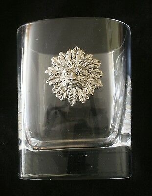 Green Man Pair of Crystal Glass Tumblers Presentation Boxed Mythical Gift