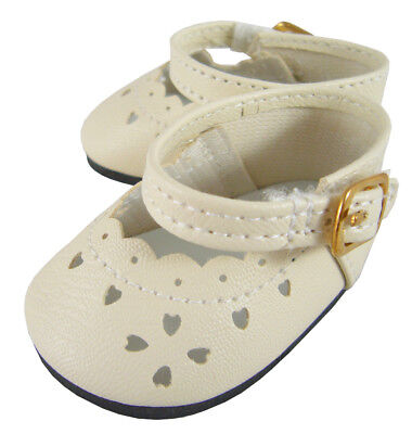 Ivory Colored Scalloped Edge Shoes made for Bitty Baby + Twins Doll Clothes