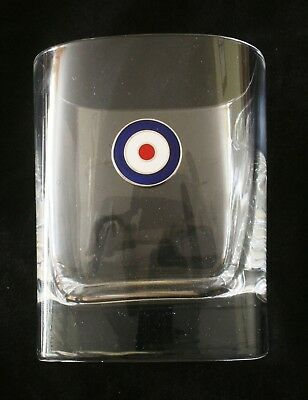 RAF Roundel Pair of Crystal Glass Tumblers Presentation Boxed Air Force Gift