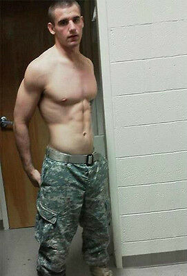 Shirtless Male Hunk Military Stud Great Chest Abs Army Boy Dude PHOTO 4X6 P2232