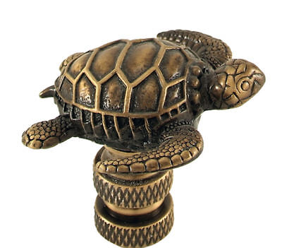 Sea Turtle Lamp Shade Finial Antique Brass