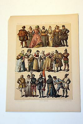 Antique MIDDLE AGES COSTUME Print by F. Hottenroth-1884 FRENCH 16th Century #3