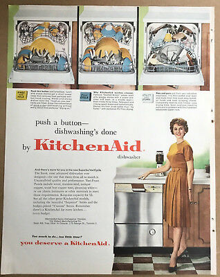 Kitchen aid ad 1961 original & vintage 1950s retro art home decor dishwasher