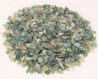 50 gram Undrilled Loose MOSS AGATE Chips 5 -15 mm Mini Semi Tumbled Stones