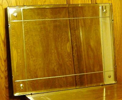 Vintage Deco Reversed Bevels & Beveled Edge Glass Mirror