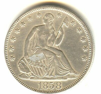 1858 P Seated Liberty Half Dollar MS Details In Grade Cleaned