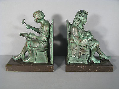 Pair of Bookends Signed the Glass/Bookends the Cobbler et le Exchange