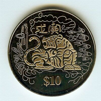 Singapore 1998 10 Dollars -Year Of The Tiger- Perfect Proof Dcam  Km#164