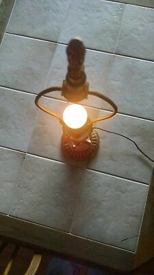 Antique Brass Candle Stick Desk Table Lamp Glass Ball Claw works Repair 22 1/2""