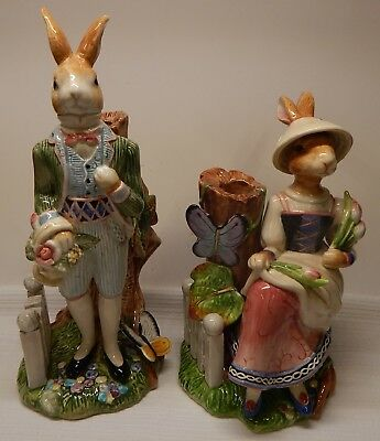 Pair of Fitz & Floyd OLD WORLD RABBITS Lady and Gentleman Candleholders, Unused