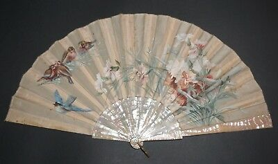 Fine Antique French Art Nouveau Mother Of Pearl Hand Painted Flowers Birds Fan