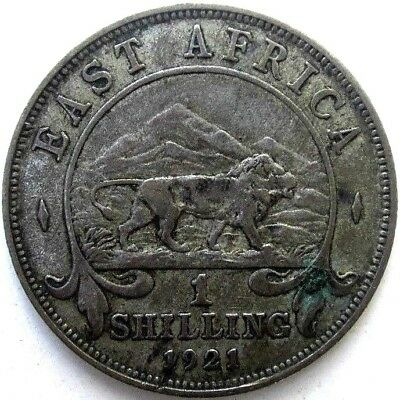 East Africa Coins, 1 Shilling 1921, George V, Silver 0.250