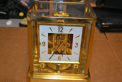 Jaeger Lecoultre Atmos Clock 15 Jewels 1970s Brass Square Face As Is