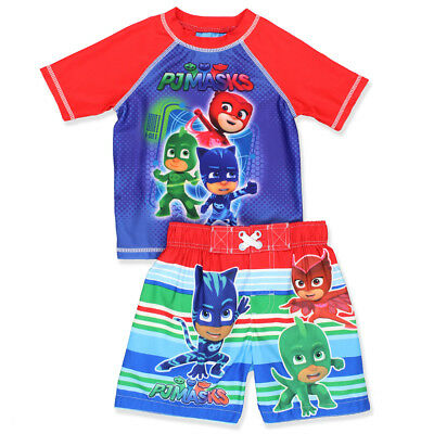 PJ Masks Toddler Boys Swim Trunks and Rash Guard Set PMKIT105