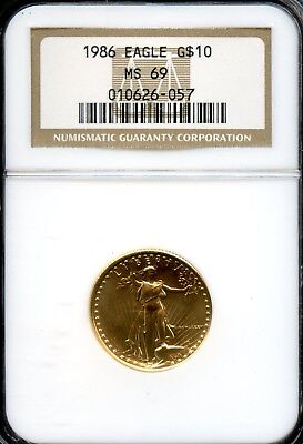 Amazing 1986 NGC MS69 Gold Eagle $10 Dollar .9167 Fine Coin VG729
