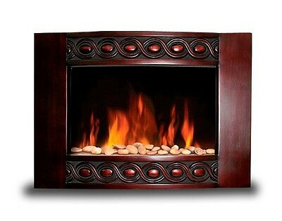 """New 1500W Deluxe Vintage Wood Wall Mount Electric Fireplace Space Heater 35"""" x22"""
