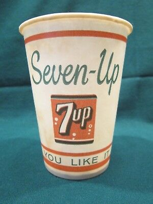 7UP UNUSED PAPER WAX CUP 3.5 OUNCE SEVEN UP YOU LIKE IT-IT LIKES YOU 1950's LOGO