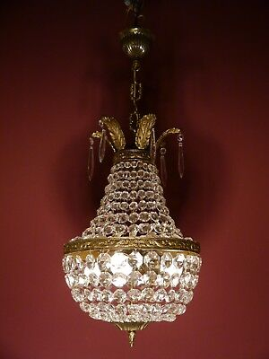 Solid 4 Light Basket Lamp Brass Sac A Perles Old