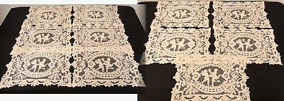 ANTIQUE POINT de VENISE NEEDLE LACE PLACEMATS Cherubs Putti Lot of 11