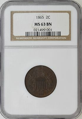 1865 NGC MS63 BN TWO 2 Cent Piece Great Even Color Nice Luster - I-10880