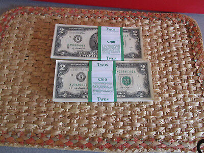 100-> New Uncirculated  <> Two Dollar Bills BEP Pack FRB Dallas Series 2013 look