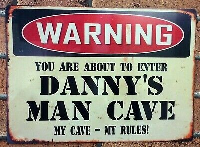 Man Cave Sign Personalised Metal Retro Workshop Bar Shed Garage Gift Idea