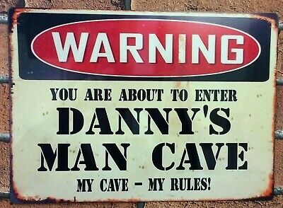 Man Cave Vintage Sign Personalised Metal Aluminium Sign Bar Shed Gift Idea