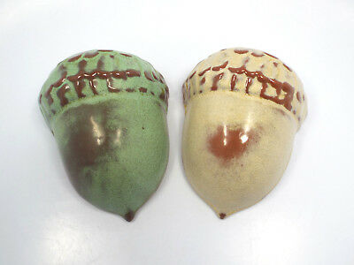 Vintage Pair of Frankoma Green & Cream Tan Color Acorn Nut Wall Pockets, #190