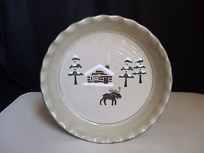 Sonoma Lodge Pottery Pie Quiche Baking Dish Plate Bowl Moose PineTrees Log Cabin