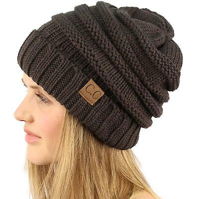 Oversize Chunky Thick Soft Stretch Knit Slouch Beanie Skull Ski Hat Cap Charcoal